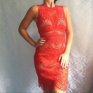 NWT H&M Red Lace Cut Out Sleeveless Short Dress